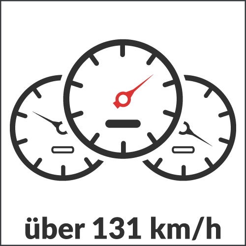 über 131 km/h